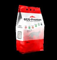 Комкующийся древесный наполнитель ECO-Premium Green с гранулами зеленого цвета -20л