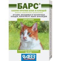 Барс капли против блох и клещей для кошек - 3 пипетки