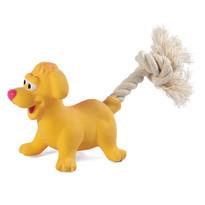 """Игрушка MINI DOGS для собак мелких пород из латекса """"Собачка с веревкой"""", 85/180мм"""